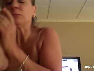 Hot mature wife handjob blowjob and cum in mouth
