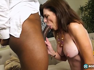 Hot, mature, milf makes young black mans day!