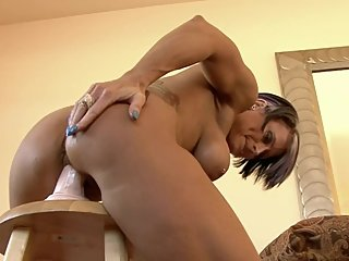 Blonde Fitness Milf Riding Dildo