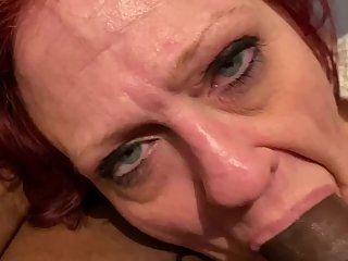 Throat fucking my coworker granny (cum shot )