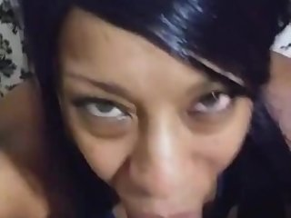 Soul sucking ebony eats dick close up