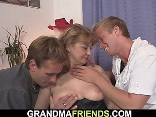Two buddy pick up and double fuck busty sexy grandma