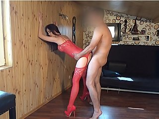 Step mom fucked hard against the wall. Kinky Mylf