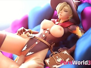 Slutty Mercy Gets Thumped by a Huge Long Cock
