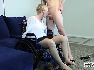 Blind Amputee Step-Mom in Wheelchair Gets Feet Fucked Then Gives Blowjob