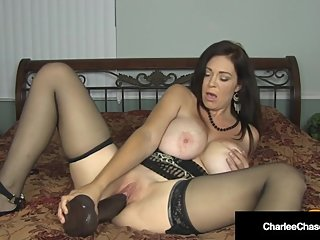Big Titty Mommy Charlee Chase Opens Her Legs For BBC Dildo!