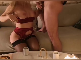 Oral creampie by a beautiful Parisian blonde