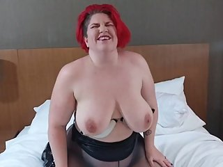 BBW ass in pantyhose and thigh high boots fucking pussy with glass dildo
