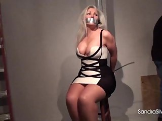 1549 No Cuts All On Screen Severe Packaging Tape Tie for Buxom MILF Captive