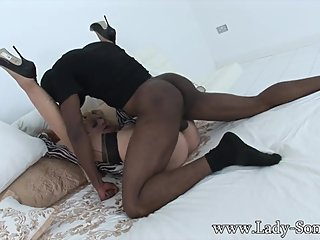 milf in heels creampied by BBC while fucking missionary legs up
