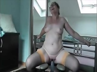 Granny great orgasm with a dildo chair