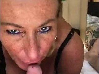 Lisa32FF worships cock and gets spunk over her face. Lots of filthy talk.