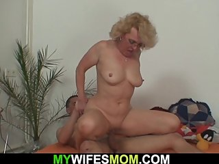 My wifes blonde mother is so horny to ride cock