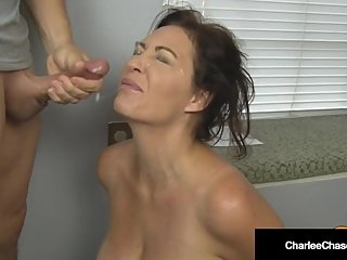Big Titty Housewife Charlee Chase Kneels & Sucks Boss' Cock!