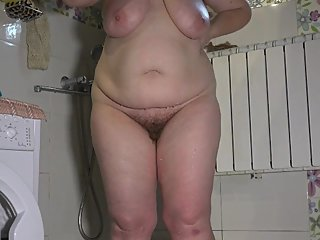 hidden camera in the shower, wash, busty bbw with hairy pussy