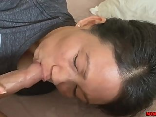 asian mother making a blowjob