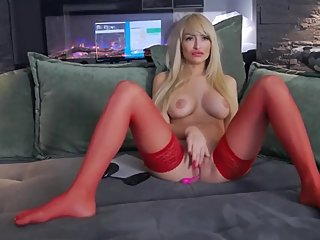 My sexy step mom in red stockings