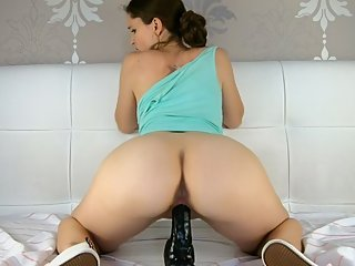 Amateur riding a huge dildo, Cowgirl - CatherineRain