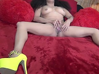 Milf Stepmom in Yellow High  Heels Playing  With Her Pussy