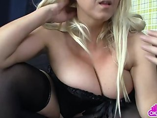 Curvy blonde MILF masturbates on webcam