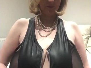 Annabel's PVC zip dress big boob squeeze