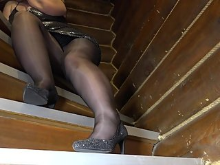 Control jerking off in front of my plump legs in stockings. Foot fetish
