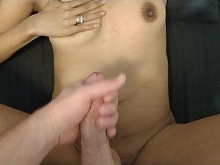 Latina MILF Slutwife Taunts Cuckold while Masturbating.  Cum shot cleanup.
