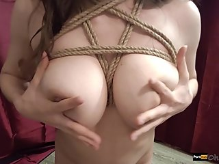 Teen milf makes footjob/shibari practice