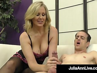 Dominating Diva Julia Ann Plays With Cock In PantyHosed Feet