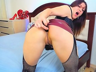 Dirty Bitch in Leather Skirt Masturbate With Black Dildo