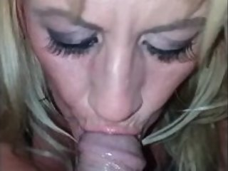 Hot White Wife Sucks and Strokes the Cum out of Dickems McDickems' BBC