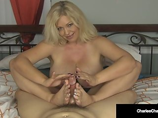 Jumping Jerky ! Cougar Charlee Chase Jacks Your Dick Off!