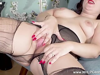 Horny Milf Cherri tears her black pantyhose and masturbates wet pink pussy