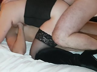 Hotwife fucked hard DP-style by two guys while hubby films