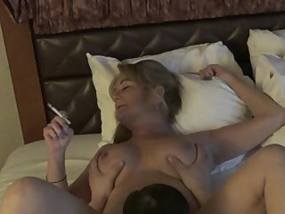 Big Tits Smoking Mature GiGiJuggs MILF pussy being licked cigarette