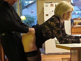 Taboo! Stepson fucks hard his mature stepmom in the ass in kitchen