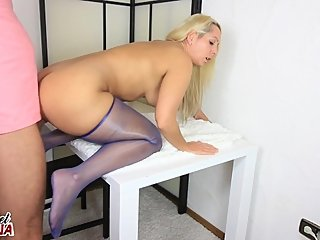 Milf wears sheer blue pantyhose and gets fucked